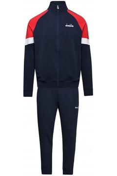 Diadora 102.176464 FZ Cuff Suit Core Tuta Completa Uomo Cotone Garzato Blu Red Tute 102.17646460063