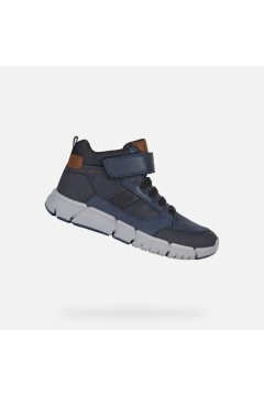 Geox J Flexyper J049BB Scarpe Bambino Sneakers Mid Lacci Elastici Blu Scarpe Bambino J049BB0BUCLC0045