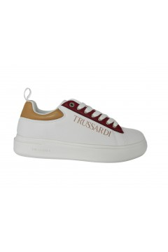 Trussardi Jeans 79A00551 YRIAS Logo Print Sneakers Donna Oversize Bianco Francesine e Sneakers 79A00551W779