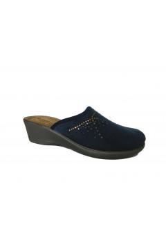 Inblu DE 7 Pantofole Donna in Panno Plantare in Pelle Blu Ciabatte e Infradito DE7BLU