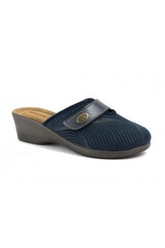 Inblu DE 4 Pantofole Donna in Panno Plantare in Pelle e Strappo Blu Ciabatte e Infradito DE4BLU