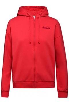 Diadora 102.176479 L. Hoodie Fz Sweat Chromia Felpa con Cappuccio Cotone Felpato Geranium Red Abbigliamento Sportivo 102.1764...