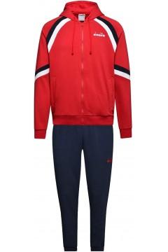 Diadora 102.176465 Hd Fz Suit Core Tuta Completa Uomo con Cappuccio Cotone Garzato Tango Red Tute 102.17646545046