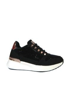 XTI 44365 Scarpe Donna Sneakers Stringate Strass Nero Francesine e Sneakers X44365NR