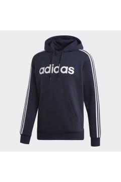 Adidas DU0494 Essential 3 Stripes Sweatshirt Felpa con Cappuccio Cotone Felpato Blu Felpe e Maglie DU0494