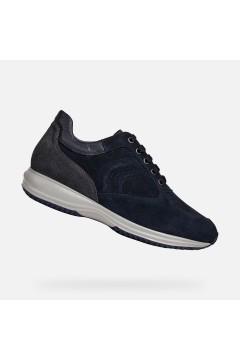 Geox U Happy H U4356H Sneakers Uomo Stringate Camoscio Blu Casual U4356H0BS22CF44N