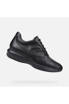 Geox U Happy H U4356H Sneakers Uomo Stringate in Pelle Nero Casual U4356H00085C9999