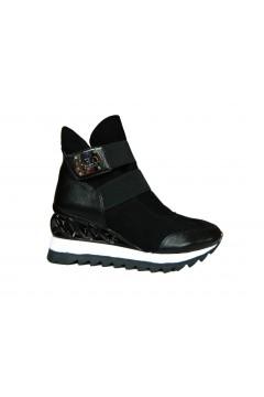 Solo SOPRANI MI12 Scarpe Donna Sneakers con Zeppa Suede Nero Francesine e Sneakers MI12NR