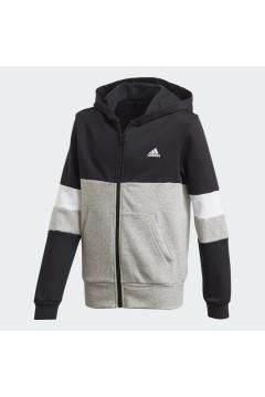Adidas GD6328 ColorBlock Ful Zip Hoodie Felpa con Cappuccio Unisex Cotone Felpato Nero Abbigliamento Bambino GD6328