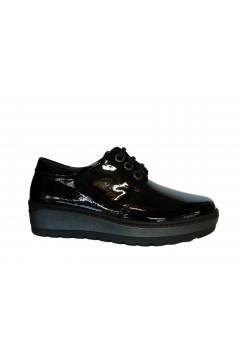 NOTTON 2803 Scarpe Donna Stringate in Morbida Vera Pelle Vernice Nero Francesine e Sneakers N2803VNR