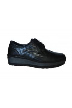 NOTTON 2848 Scarpe Donna Stringate in Vera Pelle Cocco Nero Francesine e Sneakers N2848NR