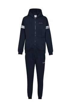 Diadora 102.176483 L. HD FZ Cuff Suit Core Tuta Donna con Cappuccio Cotone Felpato Blu Abbigliamento Sportivo 10217648360063