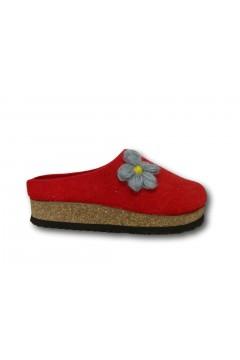 Plantas B832-50 Bacoli Pantofole Donna Fondo Sughero in Lana Rosso Ciabatte e Infradito B83250