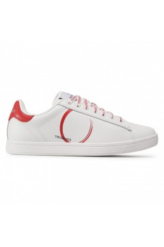 Trussardi Jeans 77A00273 Sneakers Uomo in Pelle Stringate Bianco Rosso Sneakers 77A00273WR