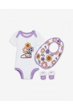 Nike GN0563 001 New Born Set 3 Pezzi Body Calze Bavaglino Abbigliamento Bambina GN0563001