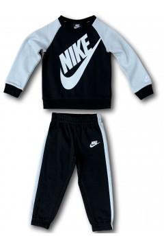 Nike 86F563 023 Tuta Completa Bambini Unisex Cotone Felpato Nero Grigio Abbigliamento Bambino 86F563023