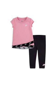 Nike 16G061 023 Tshirt + Leggings Set Rosa Abbigliamento Bambina 16G061023