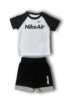 Nike Air 86G068 023 Set Completino Tshirt + Pantaloncini Bianco Nero Abbigliamento Bambino 86G068023