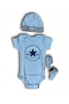Converse MC0028 C1A New Born Set 3 Pezzi Body Calze Cappellino Abbigliamento Bambino MC0028C1A