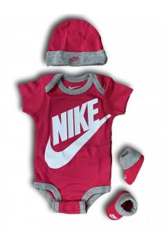 Nike MN0073 A4Y New Born Set 3 Pezzi Body Calze Cappellino Abbigliamento Bambina MN0073A4Y