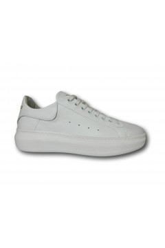 Interland 9026 Made in Italy Sneakers Uomo Stringate Vera Pelle Total White Sneakers I9026BIA