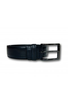 Made in Italy 035 Cintura Uomo 3,5 cm in Pelle Lucida Puntinata Blu Cinture RF035PBL