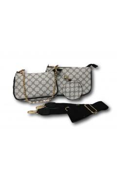 Sagace Collection 6810 Tris Tracolla Pochette Portamonete Borsa Donna Nero Borse SC6810NR