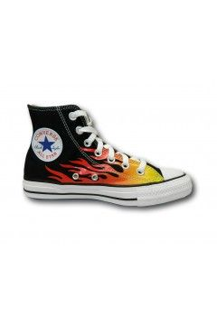Converse 171130C All Star Ctas Hi Classic Sneakers Mid Canvas Nero Fiamme  Scarpe Sport 171130C
