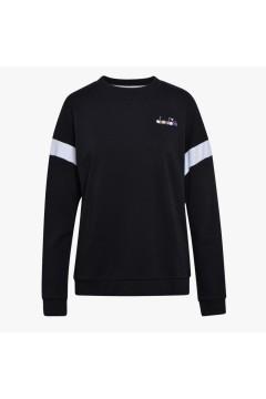 Diadora 102.177099 L. Sweatshirt Crew Spotlight Felpa Donna Cotone Garzato Nero Abbigliamento Sportivo 10217709980013