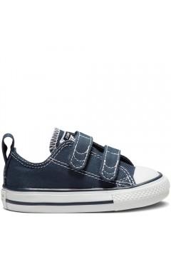 Converse 711357 CT 2V Ox Sneakers Bambini Mid Doppio Strappo Canvas Blu Scarpe Bambino 711357