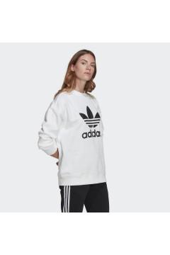 Adidas GN2961 Trefoil Crew Sweat Felpa Donna Cotone Bianco Abbigliamento Sportivo GN2961