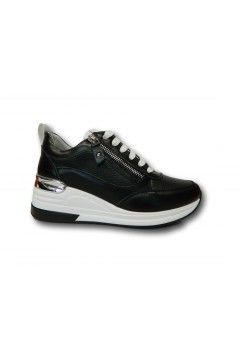 KEYS K 4150 Scarpe Donna Sneakers Stringate con Zeppa Media Nero Francesine e Sneakers K4150NR