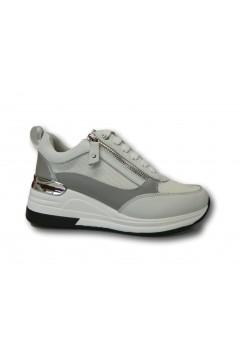 KEYS K 4150 Scarpe Donna Sneakers Stringate con Zeppa Media Bianco Francesine e Sneakers K4150BIA
