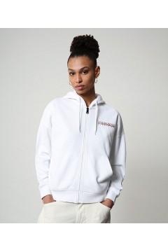 Napapijri NP0A4FAB Bilea FZH Felpa Donna Full Zip con Cappuccio Cotone Garzato Bianco Abbigliamento Sportivo NA4FAD1761