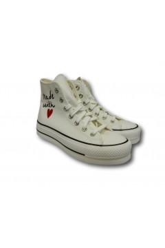 Converse 571119C Chuck Taylor All Star Love Sneakers Platform Canvas Bianco Vintage  Francesine e Sneakers 571119C