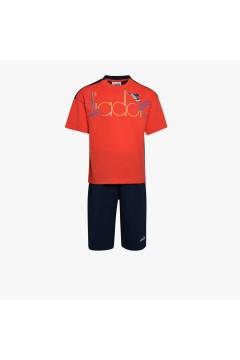 Diadora 102.177130 JB Set SS Spotligth T-shirt e bermuda Junior Unisex Rosso Papavero Abbigliamento Bambino 10217713045028