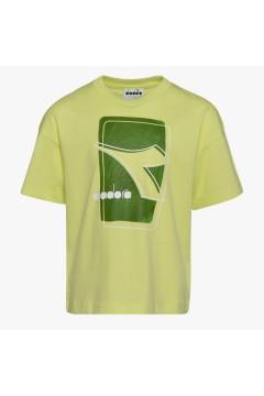 Diadora 102.177118 JU T-shirt SS Elemets Junior Unisex Verde Lime Abbigliamento Bambino 10217711870321