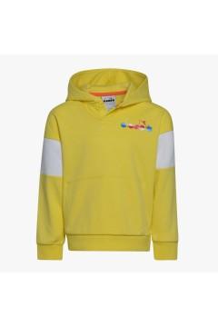Diadora 102.177124 JB Hoodie Diadora Club Felpa Con Cappuccio Junior Unisex Celandine Giallo Abbigliamento Bambino 1021771243...
