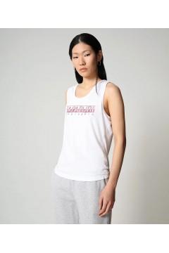 Napapijri NA4FAG Silea Top Canotta Donna Cotone White Pink T-Shirt NA4FAG0021