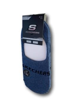 Skechers SK4408 Pack da 2 Calzini Fantasmini Salva Piede Blu Denim Calze Uomo SK44008BLU