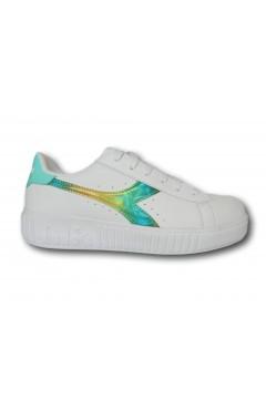 Diadora Game Step Rainbow Girl Scarpe da Ginnastica Stringate Platform Bianco Acquamarina Francesine e Sneakers 17701201C9044
