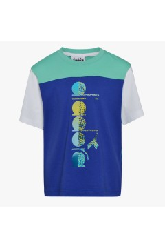 Diadora 102.177126 JB T-shirt SS Club Junior Unisex Bianco Blu Abbigliamento Bambino 10217712620002