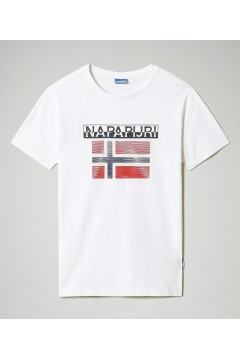 Napapijri NA4F7C S-Surf FLAG SS T-Shirt Uomo in Cotone Bianco T-Shirts NA4F7C