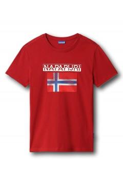 Napapijri NA4F7C S-Surf FLAG SS T-Shirt Uomo in Cotone Rosso T-Shirts NA4F7CRS