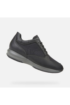 GEOX U HAPPY A U8262A Scarpe Uomo Sneakers Stringate Camoscio Tela Nero Sneakers U8262A04311C9999NR