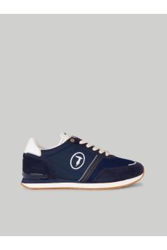 Trussardi 77A00342 SNK FREDDY MIX Sneakers Uomo Stringate Blu Sneakers 77A00342FREDDYBLU