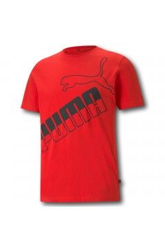 Puma 585771 Amplified T-shirt Uomo Mezza Manica Big Logo Tee Rosso T-Shirts 58577111