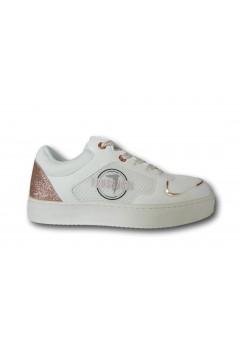 Trussardi 79A00678 SNK ECOLEATHER GLITTER Sneakers Donna Stringate Bianco Rosa Francesine e Sneakers 79A00678ECOLEATHERGLBIAROSA