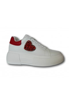 Gold & Gold GS131 Sneakers Donna Stringate Oversize Platform Bianco Rosso Francesine e Sneakers GS131BIARSS