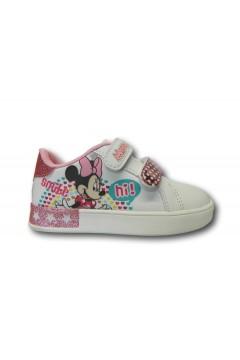 Minnie Mouse 0947 Scarpe da Ginnastica Bimba Doppi Strappi Bianco Scarpe Bambina MIN0947WH